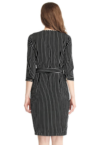 Striped Plunge Asymmetrical Belted Wrap-Style Dress