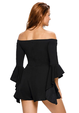 Black Off-shoulder Frill Sleeves Romper
