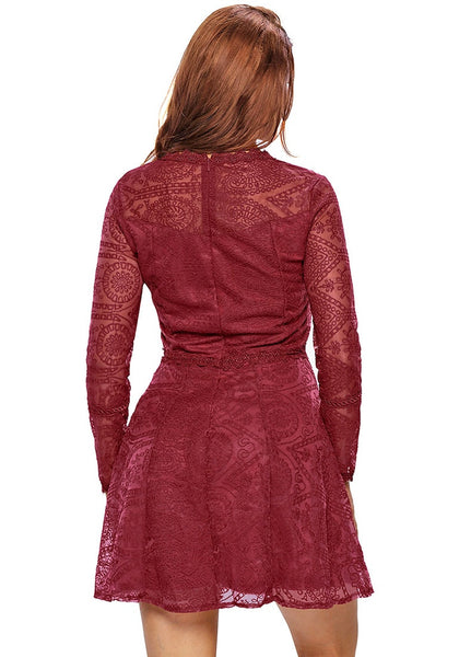 Back shot of pretty model in burgundy lace A-Line dress