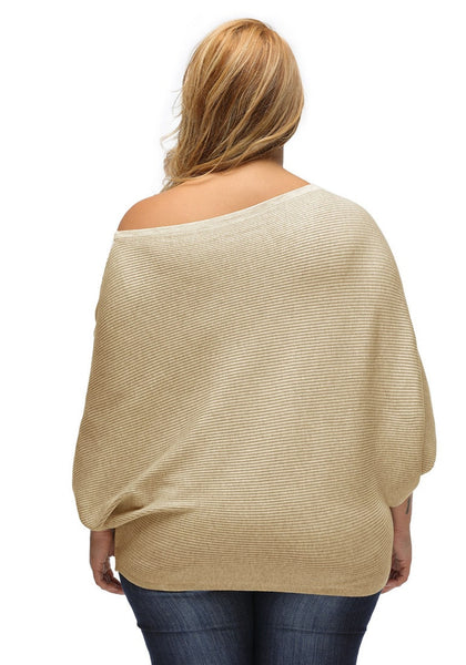 Back shot of woman in khaki off-shoulder bat sleeves sweater