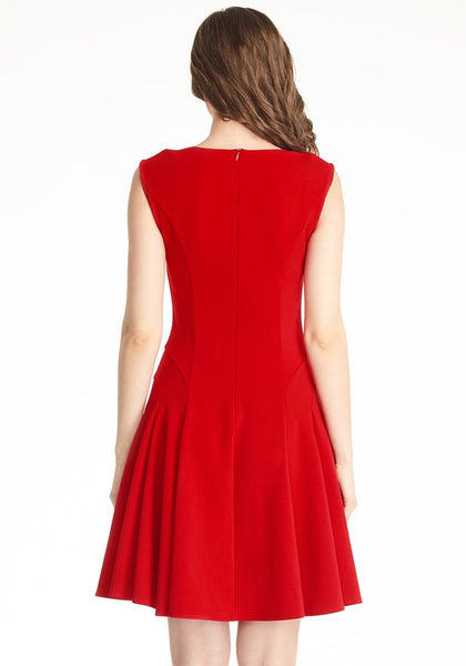 Back shot of woman in red sleeveless skater dress