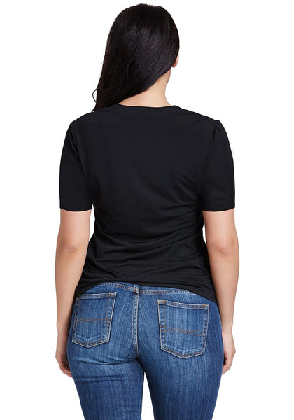 Back shot of woman wearing black lace-up short sleeves top