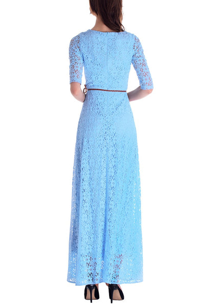 Back side view of woman in a powder blue maxi dress