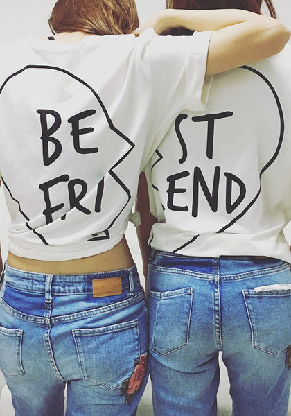 White Printed Bestfriend T-Shirts
