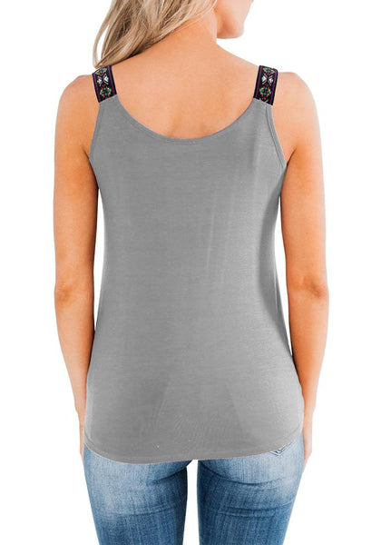 Back view if model wearing grey twist knot embroidered straps tank top