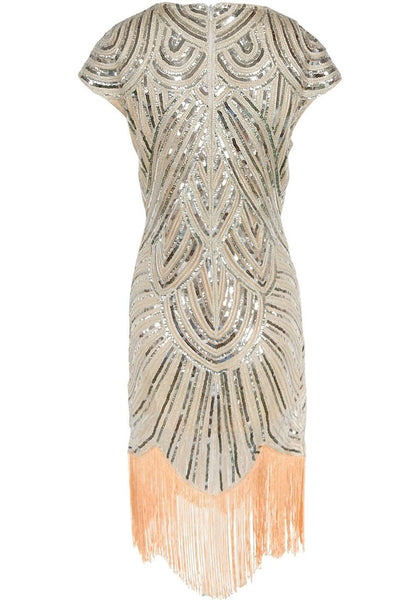 Back view of apricot sequin fringed flapper dress