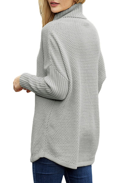 Back view of beige turtleneck grey knit pullover sweater