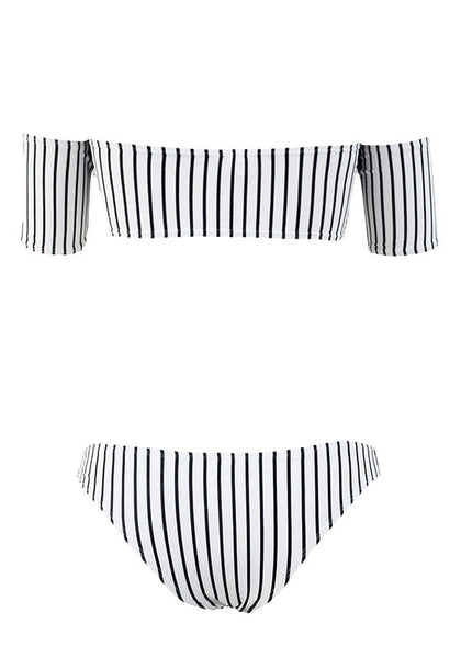 Back view of black and white striped off-shoulder bikini set