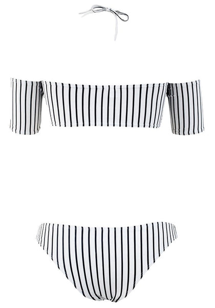 Back view of black and white striped off-shoulder bikini set with straps