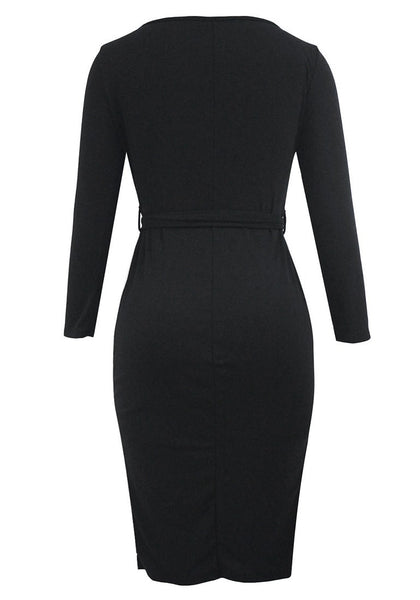 Back view of black belted button-front bodycon dress' 3D image