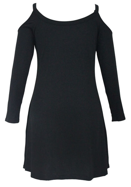 Front view of black cold-shoulder tunic dress' 3D image