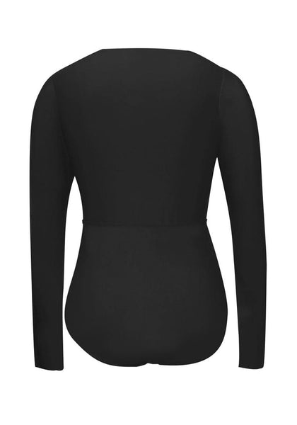 Back view of black cutout lace-up one-piece rash guard swimsuit's 3D image