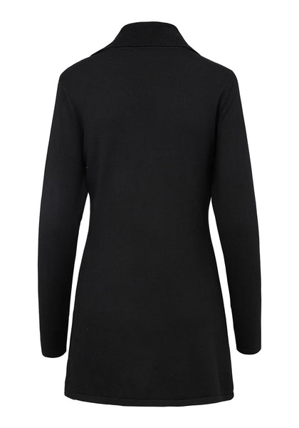 Back view of black double breasted long fit ribbed cotton cardigan's 3D image