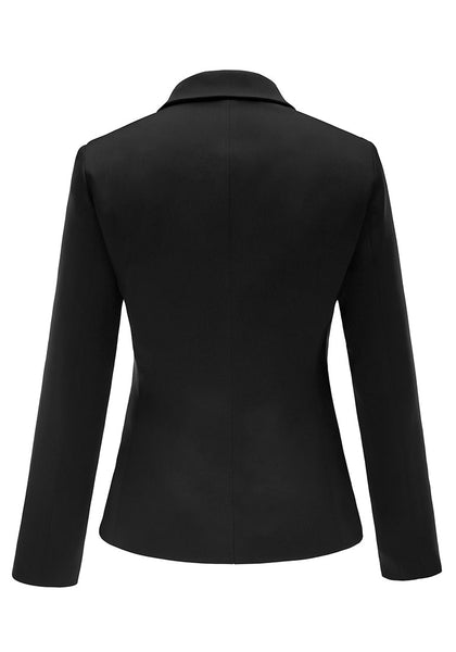 Back view of black flap pocket single breasted lapel blazer's 3D image