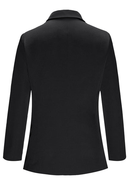 Back view of black notch lapel single-button basic blazer's image