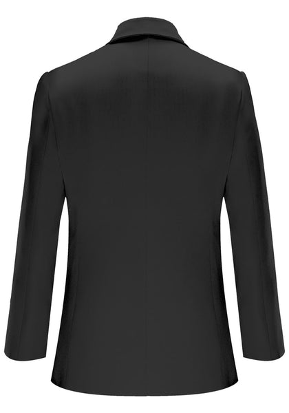Back view of black notch lapel single-button blazer's image