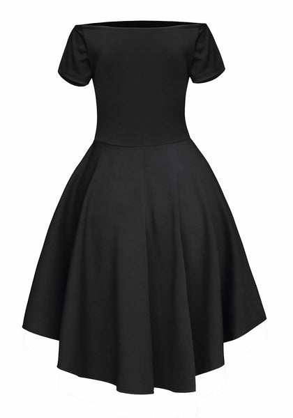 Back view of black off-shoulder high-low skater dress