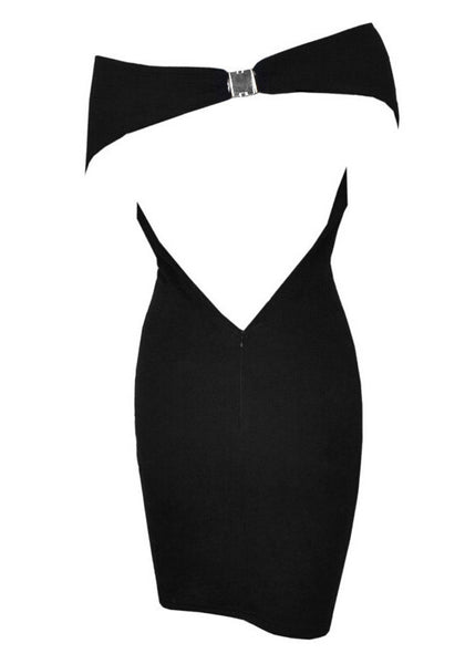 Back view of black one-shoulder bodycon dress