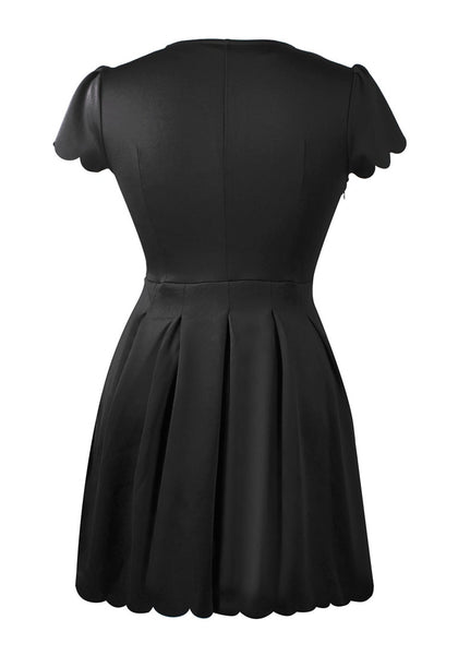 Back view of black scallop hem skater dress' 3D image