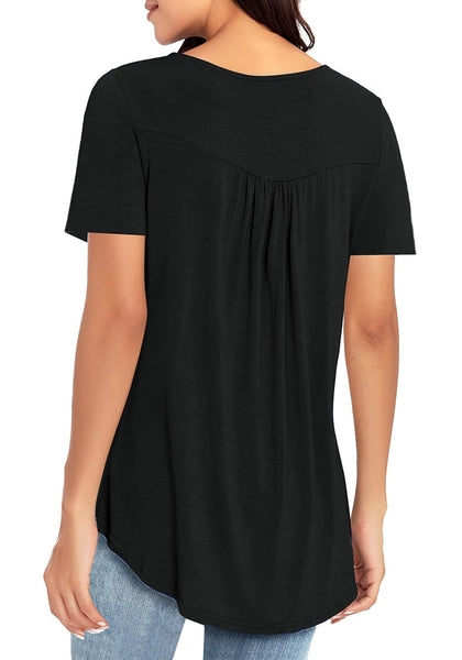 Back view of black short sleeves flowy henley tunic top