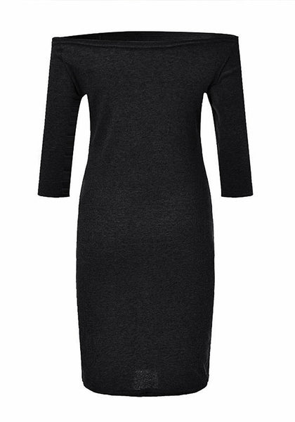 Back view of black side-zip long sleeves off-shoulder dress' 3D image.