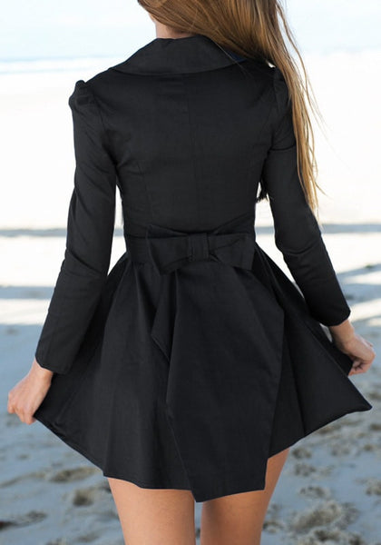 Back view of black zip-up skater dress