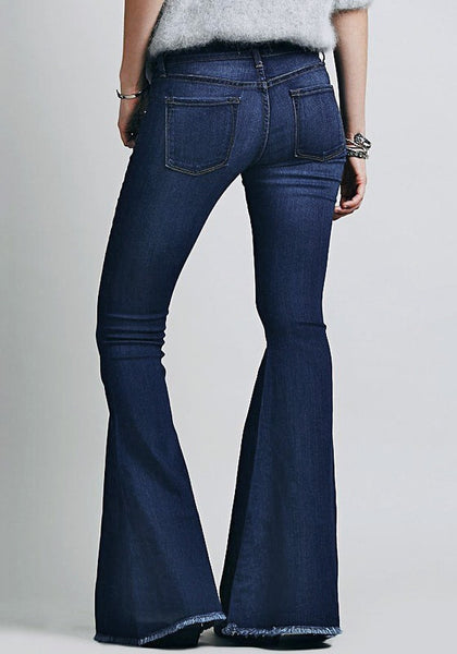 Back view of blue bell-bottom jeans