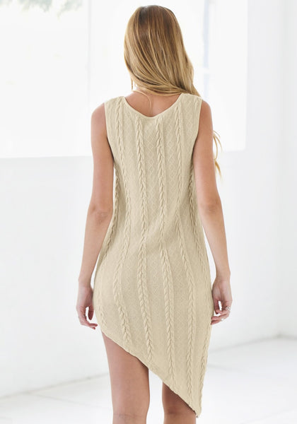 Back view of braided cable knit asymmetrical dress