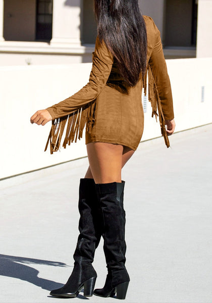 Back view of brown suede fringe sleeve dress