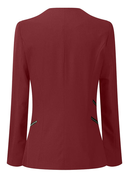 Back view of burgundy draped blazer