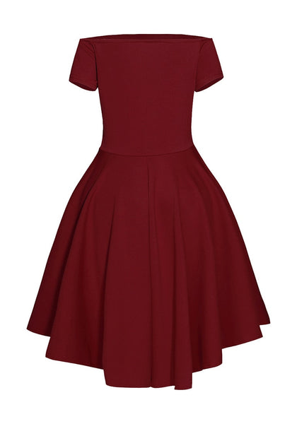 Back view of burgundy off-shoulder high-low skater dress