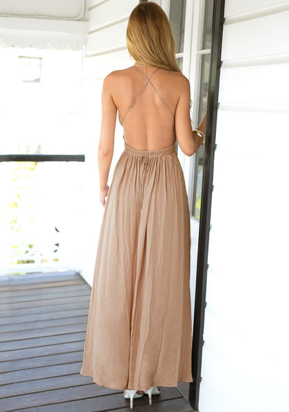 Back view of cameo color strappy plunge dress