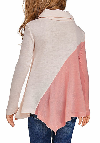 Back view of cute model poses wearing pink colorblock asymmetrical hem cowl-neck girl top
