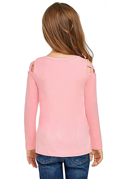 Back view of cute model wearing baby pink long sleeves crisscross cutout cold-shoulder girl top