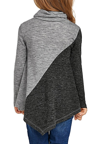 Back view of cute model wearing grey colorblock asymmetrical hem cowl-neck girl top