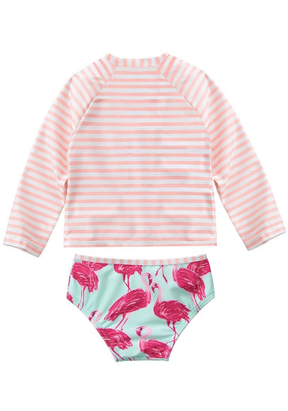 Back view of cute pink flamingo-print long sleeves baby rash guard set