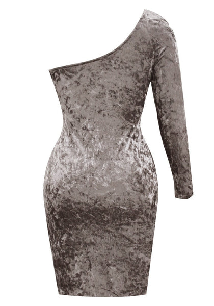 Back view of dark grey velvet one-shoulder bodycon dress' 3D image