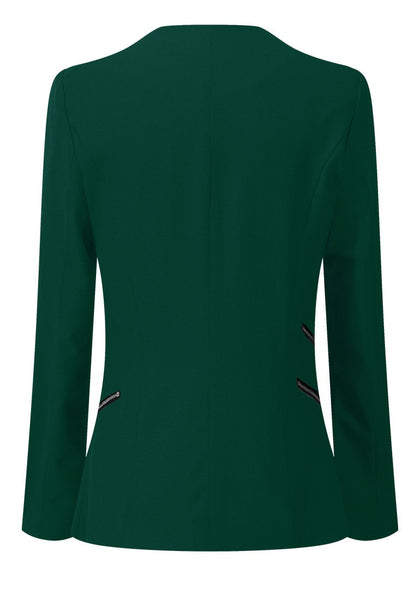 Back view of deep green draped blazer's 3D image