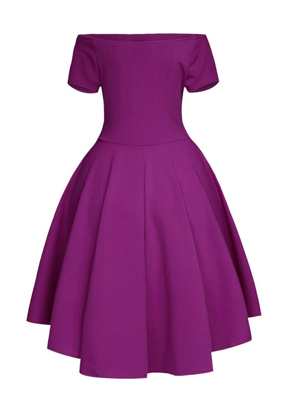 Back view of deep orchid off-shoulder high-low skater dress's 3D image