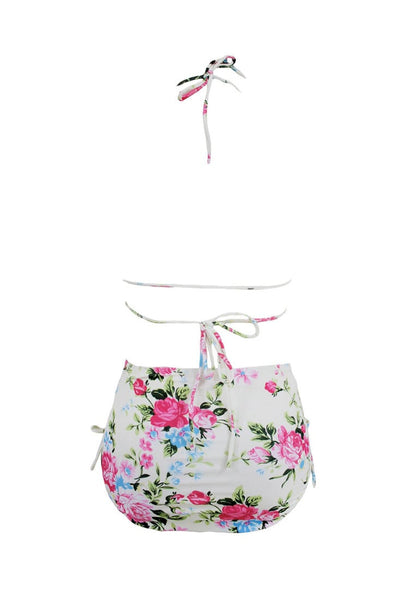 Back view of floral print high waist bikini set's 3D image