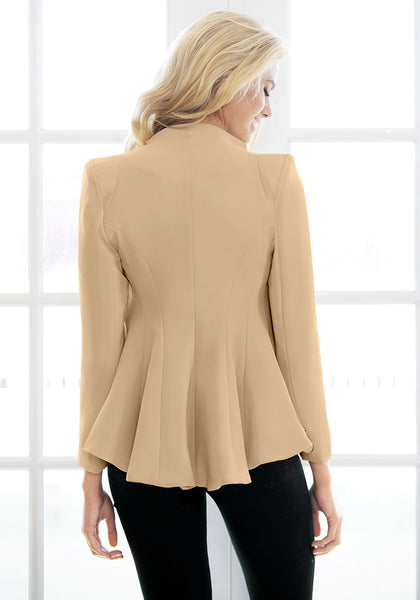 Back view of girl in apricot double lapel fit-and-flare blazer