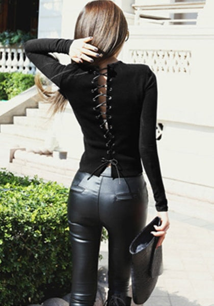 Black Lace Up Back Top Lookbook Store