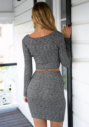 Grey Knitted Skirt Co-Ord Set