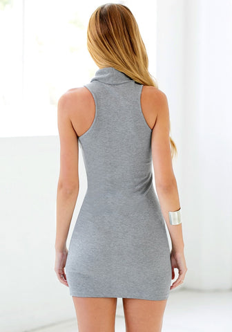 Grey Sleeveless Turtleneck Dress