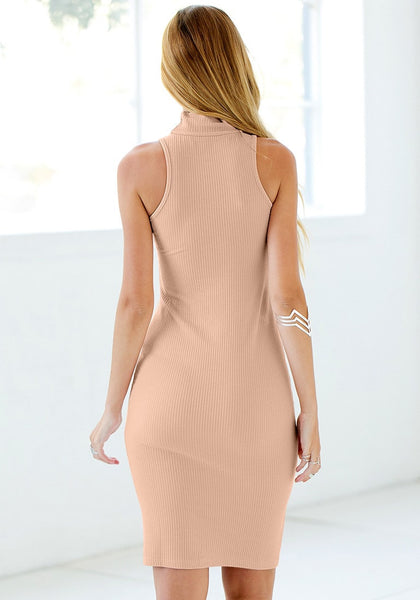 Back view of girl in mock neck bodycon midi dress