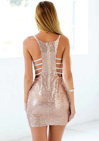 Rose Gold Sequin Cocktail Slip Dress