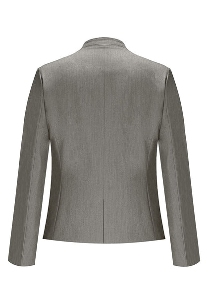 Back view of grey V-neckline single button blazer's image