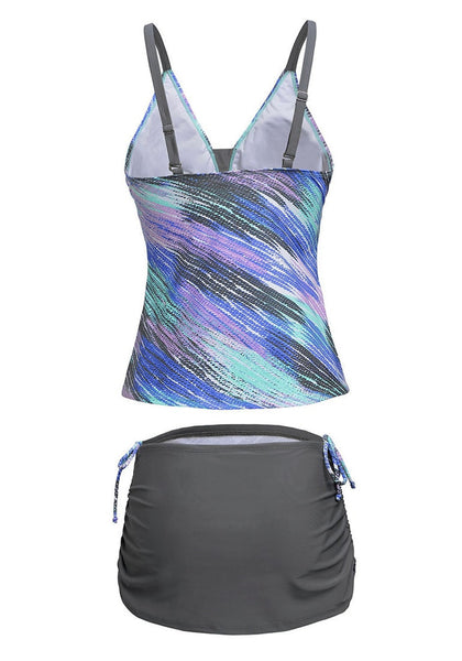 Back view of grey and blue abstract-print skirtini set's 3D image