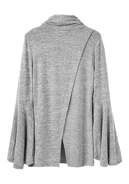Back view of grey bell-sleeved back-slit top's 3D iimage