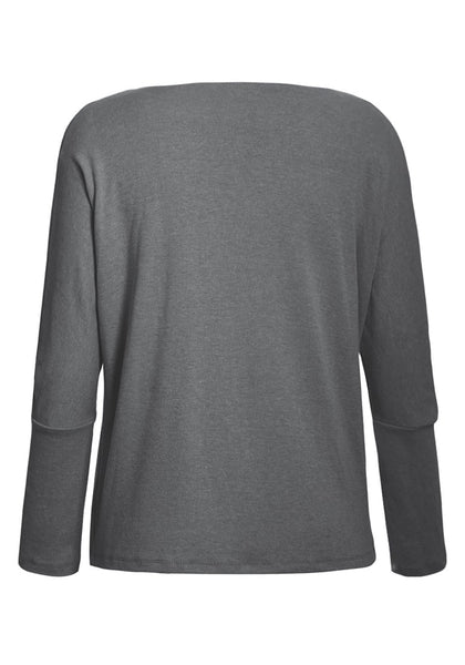 Back view of grey boat neck long sleeves pullover top's 3D image